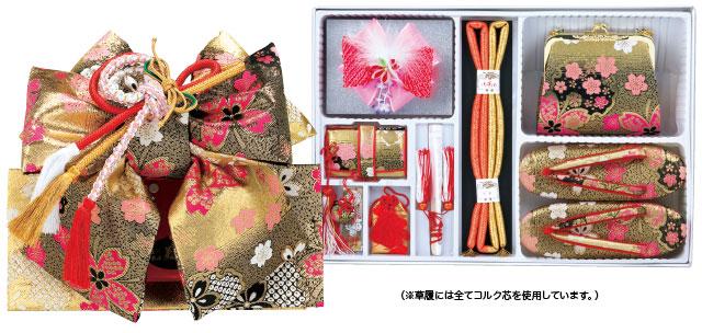 桜柄結び帯と筥迫セット