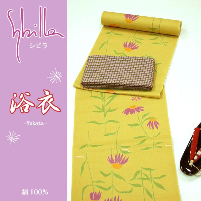 【シビラ】ゆかた地反物7B (黄・花柄)