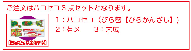 ハコセコ3点セット 【ハコセコ(びら簪含む)】【帯メ】【末広】