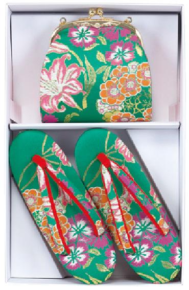 グリーン地の草履バッグセット